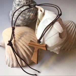Genuine Olive Wood Tau Lg Cross Necklace